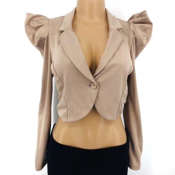Jackets & Blazers - Puff Sleeve Crop Jacket